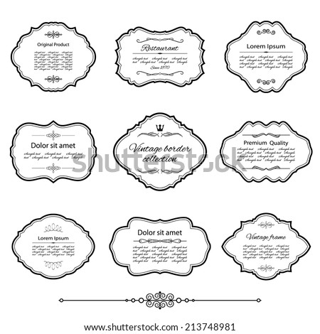 Vintage frame set isolated on white. Calligraphic design elements. - stock vector