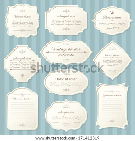 Vintage frame set on striped seamless background. Calligraphic design elements.  - stock vector