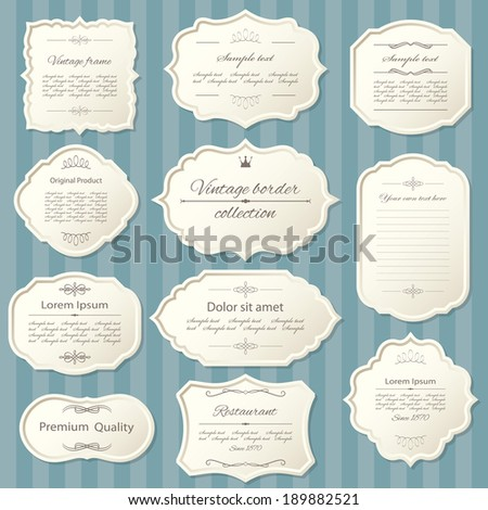 Vintage frame set on striped seamless background. Calligraphic design elements.
