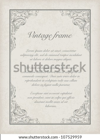 Vintage frame template. Vector, EPS10 - stock vector