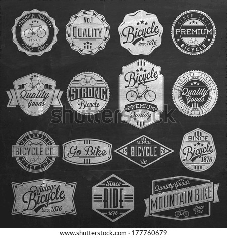 Vintage Frame With Bicycle Label Set Template On Chalkboard - stock vector
