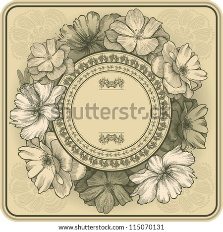 Vintage frame with blooming roses and dragonfly, hand drawing. Vector illustration. - stock vector