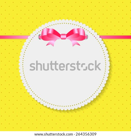 Vintage Frame with Bow Background. Vector Illustration. EPS10  - stock vector