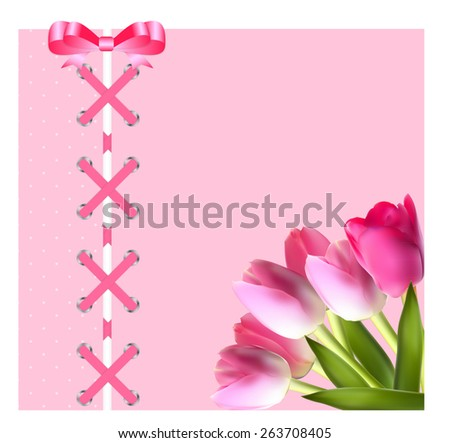 Vintage Frame with Bow, Ribbon and Tulip Folwers  Background. Vector Illustration. EPS10  - stock vector