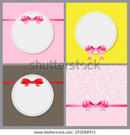 Vintage Frame with Bow Set  Background. Vector Illustration. EPS10  - stock vector