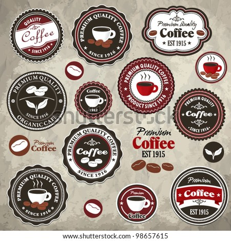 Vintage frame with coffee template (22) - stock vector