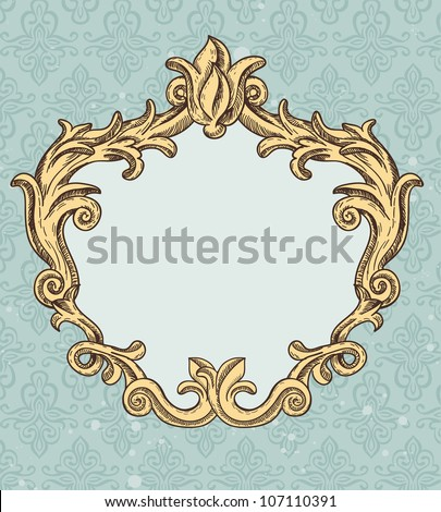 vintage frame with copy space for text -  vector abstract background - stock vector