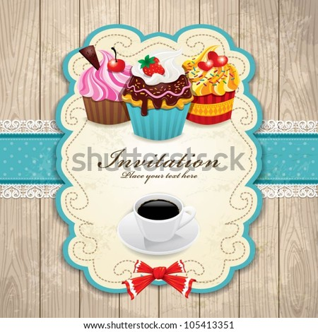 Vintage frame with cupcake & Coffee template - stock vector