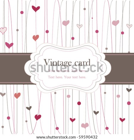 Vintage frame with hearts - stock vector