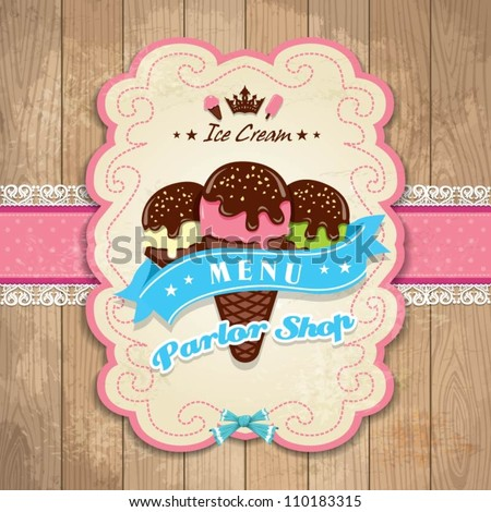 Vintage frame with icecream template menu set - stock vector