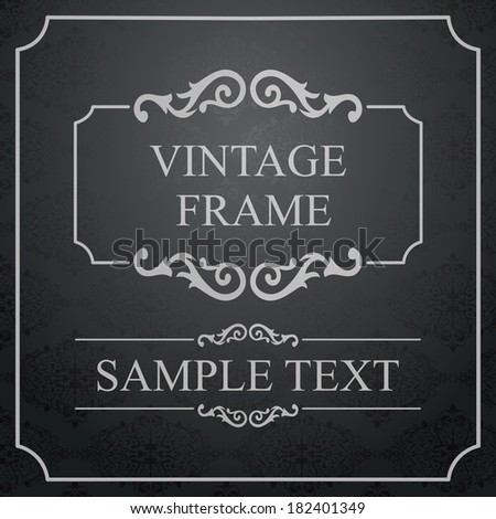 Vintage Frame with Ornamental round damask lace pattern.  Space for text. Retro Background. Vector Illustration - stock vector