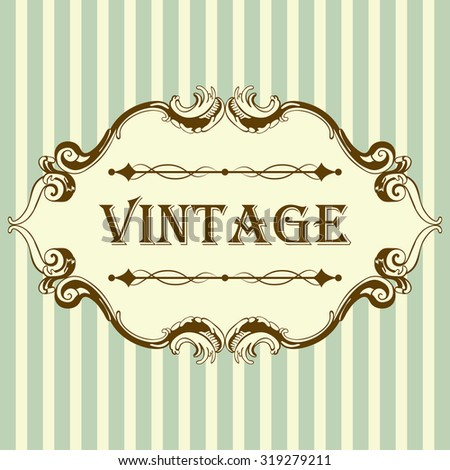 Vintage Frame With Retro Ornament Elements in Antique Rococo Style. Elegant  Decorative Design. Vector Illustration. - stock vector