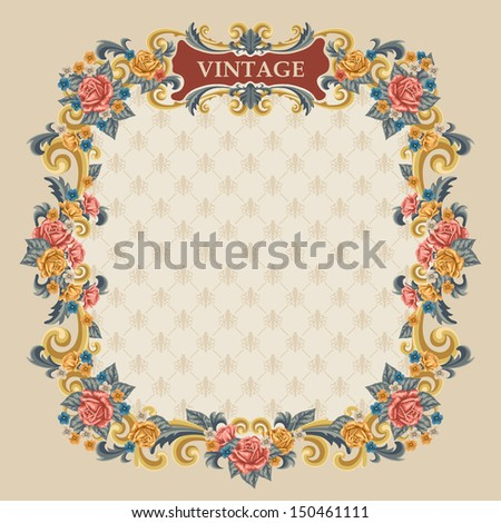 Vintage frame with rose and other flowers. Vector, easy for edit.  - stock vector