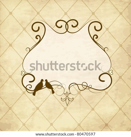 Vintage frame with two kissing doves - stock vector