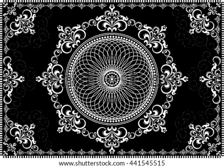 Vintage frame with white luxury ornament on black background  - stock vector