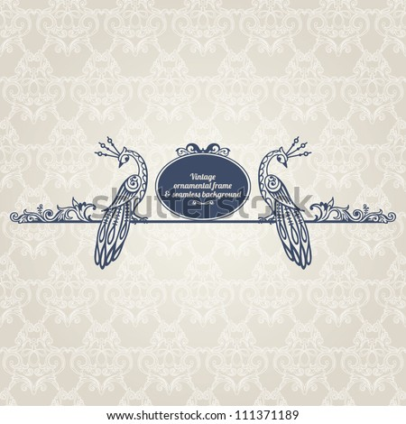 Vintage framed ornate label, page decor, menu design element. Seamless pattern background - stock vector