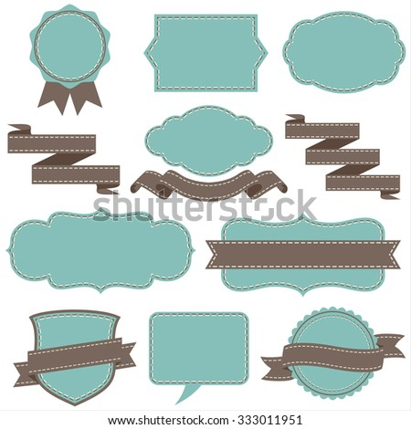 Vintage Frames and Banners set - Each object is grouped individually.  Stitched brush included in brushes window.  Colors are global for easy editing. - stock vector