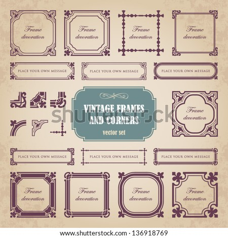 Vintage frames and corners - stock vector