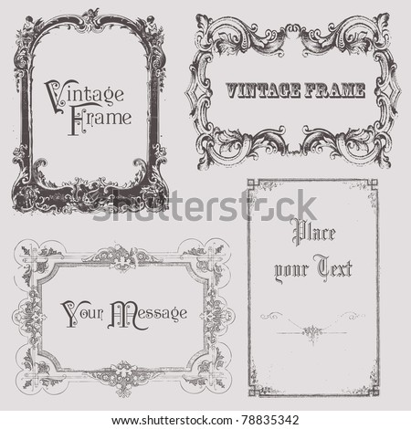 Vintage frames and design elements - with place for your text - stock vector
