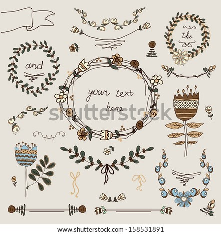 Vintage frames and hand-drawn floral decorative elements - stock vector