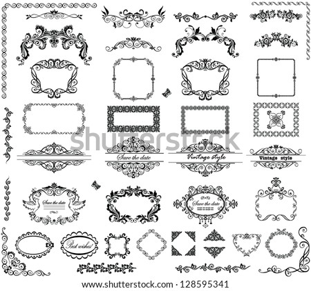Vintage frames and headers - stock vector