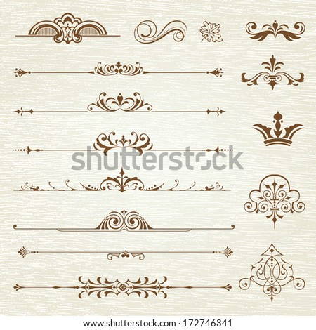 Vintage frames and scroll elements - stock vector