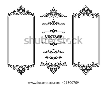 Vintage frames and vignettes, set of swirly decorative design elements in retro style, vector scroll embellishment on white - stock vector