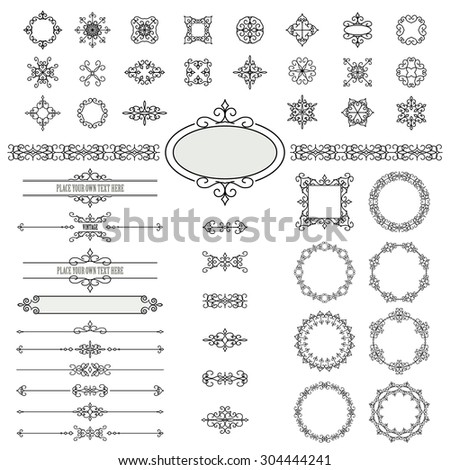 Vintage frames, dividers and design elements set isolated on white. Items are saved in brushes. - stock vector