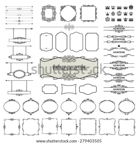 Vintage frames, dividers, signboards mega set isolated on white. Calligraphic design elements. - stock vector
