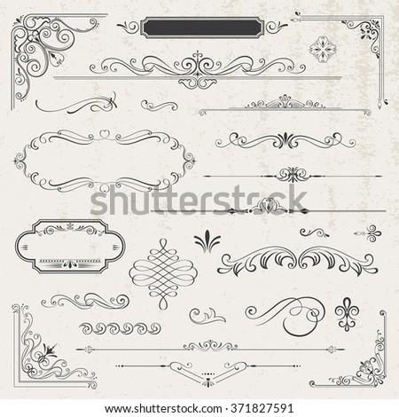 Vintage frames elements - stock vector