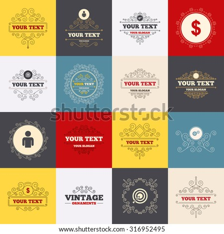 Vintage frames, labels. Business icons. Human silhouette and aim targer with arrow signs. Dollar currency and gear symbols. Scroll elements. Vector - stock vector