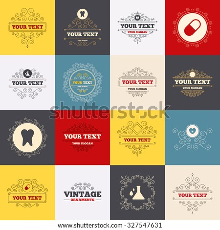 Vintage frames, labels. Maternity icons. Pill, tooth, chemistry and heart signs. Blood donation symbol. Lab bulb with drops. Dental care. Scroll elements. Vector - stock vector