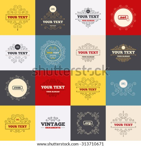 Vintage frames, labels. Top-level internet domain icons. Com, Eu, Net and Org symbols with hand pointer. Unique DNS names. Scroll elements. Vector - stock vector