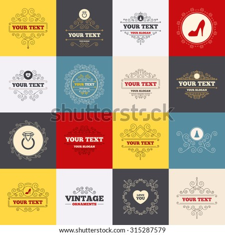 Vintage frames, labels. Wedding dress icon. Women's shoe and love heart symbols. Wedding or engagement day ring with diamond sign. Scroll elements. Vector - stock vector