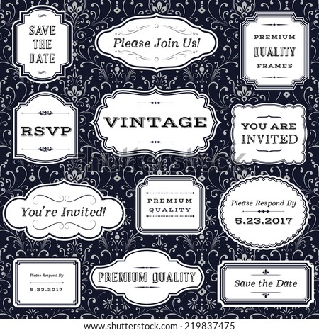 Vintage Frames on Damask Background - Set of frame and label shapes on seamless damask background.  Damask background swatch is included in swatches panel.  Colors are global for easy editing.   - stock vector