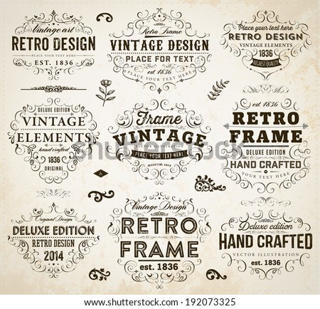 Vintage Frames, Scroll Elements and Retro Paper Background. - stock vector
