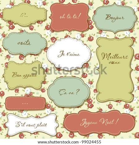 Vintage frames, seamless floral pattern as a background - stock vector