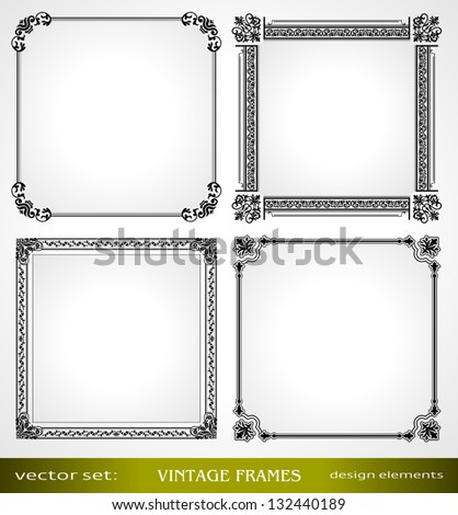 Vintage frames set, calligraphic victorian art ornamental photo frames, retro design elements and page decoration, decor for old style books, greetings and invitations - stock vector