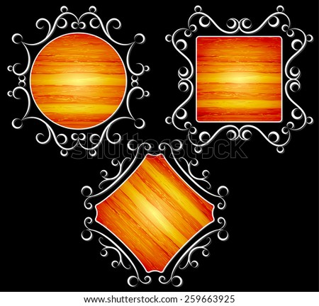 vintage, frames with wood texture, vector illustration - stock vector