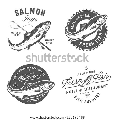 Vintage fresh fish salmon emblems, badges and design elements set - stock vector