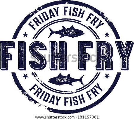Vintage Friday Fish Fry Sign - stock vector