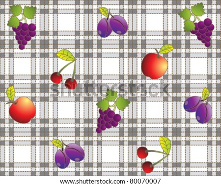 Vintage fruit design tablecloth - stock vector