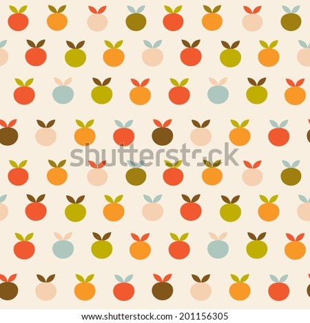 Vintage fruits seamless colorful vector background - stock vector