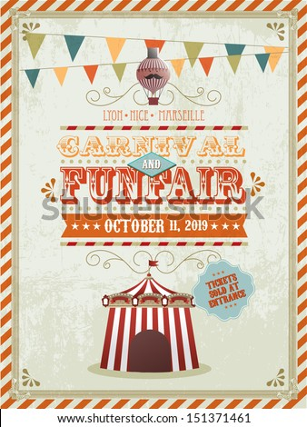vintage fun fair and carnival poster template vector/illustration - stock vector