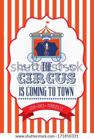 vintage fun fair/carnival/circus poster template vector/illustration - stock vector