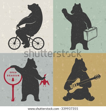 Vintage fun Illustration bear on a bike, hunter, travel and bear with musical guitar. Funny animals on a white background for posters and print T-shirts