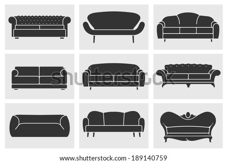 Vintage furniture icons set. Flat sofas collection - stock vector