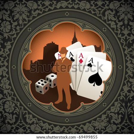 Vintage gambling background with floral decoration. Vector illustration. - stock vector