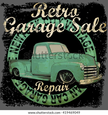 Vintage garage retro banner - stock vector