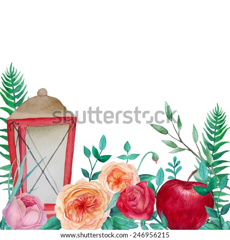 Vintage garden flowers background. Watercolor frame with roses, apple, lamp, fern and branches. Hand drawn vector illustration isolated on white background - stock vector